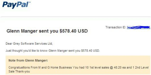 payment from Glenn